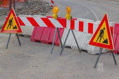 Traffic signs for construction works in street Stock Image