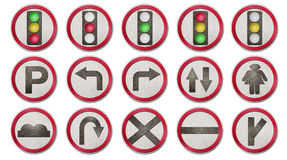 Traffic signs is cut from recycled paper Royalty Free Stock Image