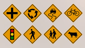 Traffic signs 3D image Royalty Free Stock Images