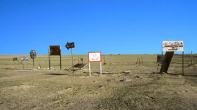 Traffic Signs in the Desert near Al Jahra Royalty Free Stock Photography