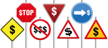 Traffic Signs Dollar Symbol Business Royalty Free Stock Image