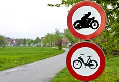 Traffic signs driving ban for motorcycles Stock Photos