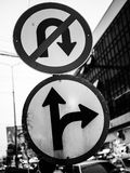 Traffic signs. Forbid turn back and right tune split Royalty Free Stock Image