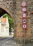 Traffic signs at the gate Stock Photos