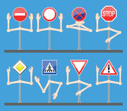 Traffic signs with hands. Traffic signs help drivers to obey the rules Stock Photos