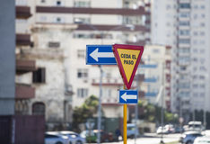 Traffic signs in Havana Royalty Free Stock Photo