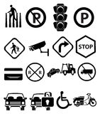 Traffic Signs Icons Set. Vector illustration of traffic black icons set on a white background Royalty Free Stock Photography