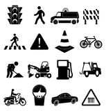 Traffic Signs Icons Set. Vector illustration of road traffic sign black icons set on a white background Royalty Free Stock Photo