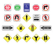 Traffic Signs icons. Vector illustration of a varios traffic sign and symbols royalty free illustration