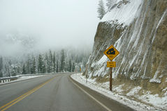 Traffic signs on icy mountain road Stock Images