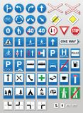 Traffic signs: Information. Traffic sign collection: Information signs on blue Stock Photos