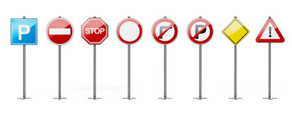 Traffic signs isolated on white background. 3D illustration Stock Images
