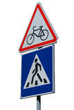 Traffic signs isolated on white (Watch for cyclists and Pedestr. Ian crossing royalty free stock photography