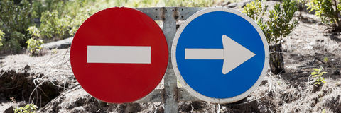Traffic signs prohibited and driving direction Royalty Free Stock Photography