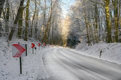 Traffic signs with red arrows on a dangerous curve on an snowy country road through the winter forest, safety driving concept, royalty free stock photos
