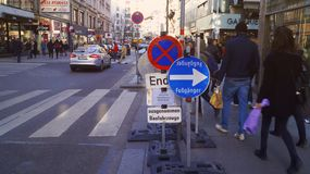 Traffic signs restricting the movement of cars in Vienna royalty free stock photography