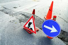 Traffic signs of road construction Royalty Free Stock Photography