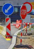Traffic signs. Signs on the road at roadworks Stock Photos