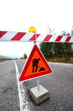 Traffic signs on the road, under reconstruction symbol Stock Image