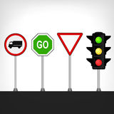 Traffic signs set with semaphore isolated Royalty Free Stock Photos