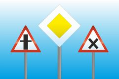 Traffic signs. Several traffic signs on blue background Royalty Free Stock Photography