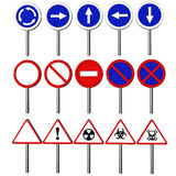 Traffic signs. Traffic signals and danger recommendation obligation rendered in 3d with clipping path Royalty Free Stock Photography
