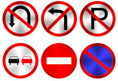 Traffic signs. Six Vector Traffic Signs on White Background, Eps10 Vector, Gradient Mesh Used Royalty Free Stock Image