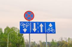 Traffic signs on the street. Stock Image