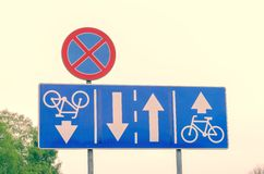 Traffic signs on the street. Royalty Free Stock Image