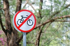 Traffic signs and symbols : Bicycle do not enter for this area royalty free stock photos