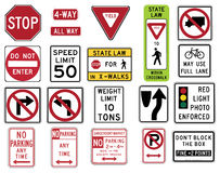 Traffic Signs in the United States - Regulatory Series. Vector Illustration collection of the select Traffic Signs in the United States, isolated on white Stock Photo