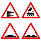 Traffic signs vector set on white background, railway level crossing ahead, speed hump, rough road symbols in red Stock Photos
