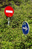 Traffic signs with vegetation Royalty Free Stock Photo