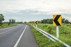 Traffic signs warn that the curve. On a rural route Royalty Free Stock Photography