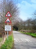Traffic signs. Traffic warning signs in the Cheshire countryside UK Royalty Free Stock Image
