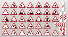 Traffic signs - Warnings Stock Images