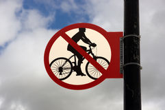 Traffic signs wheel driving ban Royalty Free Stock Images