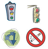 Traffic signs on the white background, illus Royalty Free Stock Photo