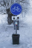 Traffic signs in winter Stock Photo