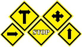 Traffic signs. Yellow Traffic signs on white background Royalty Free Stock Image