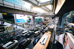 Traffic and skytrain tracks at Siam, in Bangkok, Thailand. Stock Photography