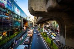 Traffic and skytrain tracks at Siam, in Bangkok, Thailand. Royalty Free Stock Photo