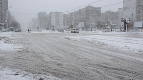 Traffic slowed by snow stock video footage