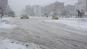 Traffic slowed by snow stock video