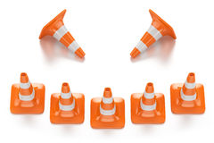 Traffic smile cones. Restrictive red traffic cones with white lines in the form of a smile  on white background Stock Image