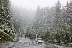 Traffic in a snowstorm, Austrian mountains Royalty Free Stock Photo