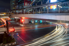 Traffic on south sathorn road at night. Traffic on south sathorn road Stock Images