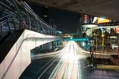 Traffic on south sathorn road at night. In night traffic on south satron road Stock Image