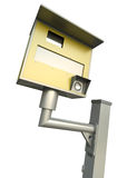 Traffic speed camera. Yellow speed camera over white background. 3D render Stock Photography