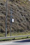 Traffic Speed Camera. Police radar. Speed control radar camera at countryside road highway in Sao Paulo state, Brazil Stock Images